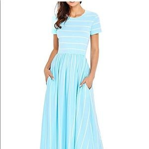 Dresses & Skirts - Maxi dress XL turquoise blue with white stripes